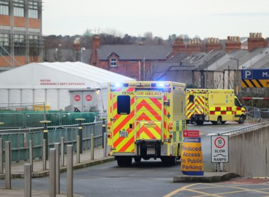 Ambulances outside the ED at the Mater Hospital in Dublin