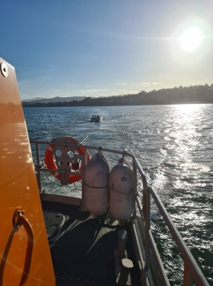 Dun Laoghaire RNLI's all-weather lifeboat assisting a vessel