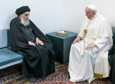 Pope Francis, right, meets with Iraq's leading Shiite cleric, Grand Ayatollah Ali al-Sistani in Najaf, Iraq