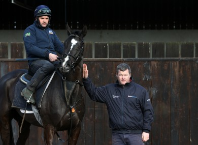 Trainer Gordon Elliott (right) with Don Cossack and Simon McGonagle during a visit to Gordon Elliott's stables at Cullentra House in 2016 (file photo).