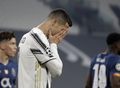 Juventus' Cristiano Ronaldo reacts during the Champions League last match.