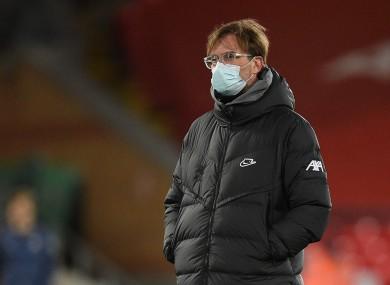 Jurgen Klopp pictured at Anfield tonight.