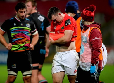 Matt Gallagher had to be withdrawn during Munster's Guinness Pro14 game against Zebre back in November.