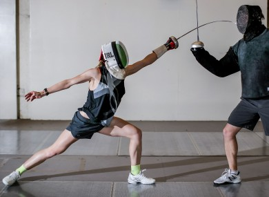 Coyle training with fencing coach Andrey Fedotov last summer.