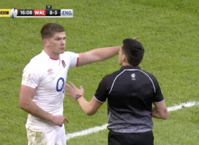 Owen Farrell remonstrates with Pascal Gauzere following Josh Adams' hugely controversial try for Wales in their defeat of England.