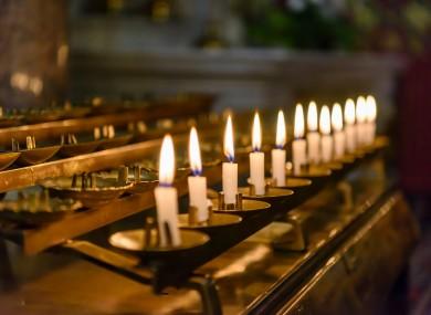 Candles inside Saint Peter's Church, Drogheda.