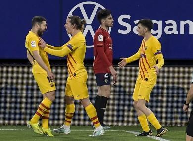 Jordi Alba celebrates his opening goal.