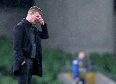 Stephen Kenny, standing on the touchline during last night's loss to Luxembourg.