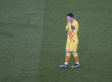 Lionel Messi of Barcelona reacts during the game.