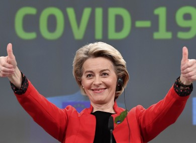 European Commission President Ursula von der Leyen pictured after today's media conference on the Commissions response to Covid-19