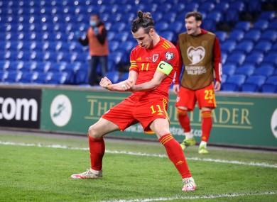 Gareth Bale celebrates Daniel James' winner.