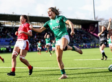 Béibhinn Parsons celebrates her try against Wales in last year's Six Nations.