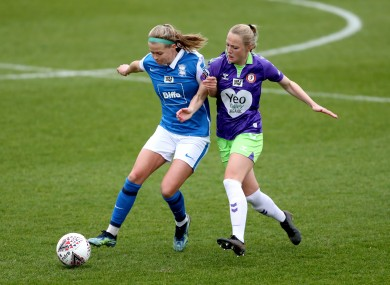 Ruesha Littlejohn (left) in action against Bristol City in March.