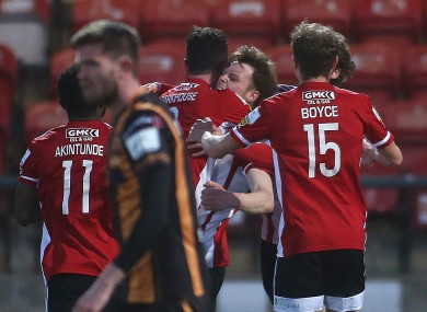 Derry's Cameron McJannet celebrates his goal.