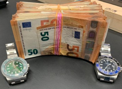 The cash and watches seized by gardaí