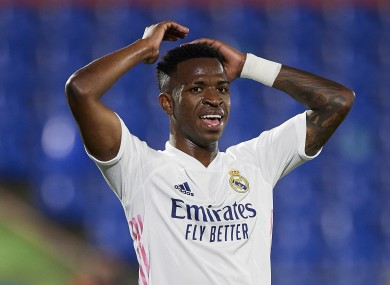 Real Madrid's Vinicius Jr shows his frustration.