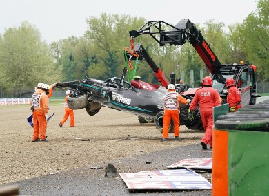 The wrecked car of Valtteri Bottas after the crash.