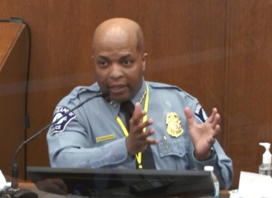 In this image from video, witness Minneapolis Police Chief Medaria Arradondo testifies as Hennepin County Judge Peter Cahill presides