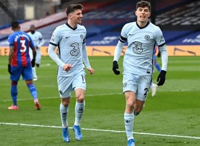 Kai Havertz celebrates a goal against Crystal Palace with Mason Mount (left)