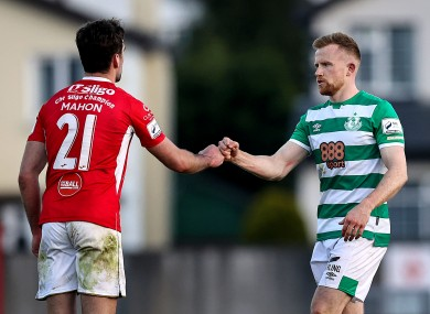 Sligo's John Mahon with Sean Hoare of Rovers after the game.