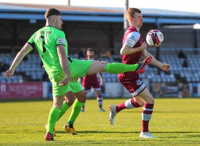 The goal-scorers, Finn Harps' Karl O'Sullivan and Mark Doyle of Drogheda, in action.