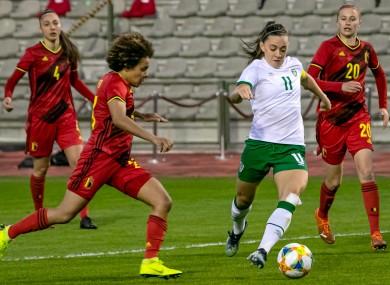 Katie McCabe in action against Belgium.