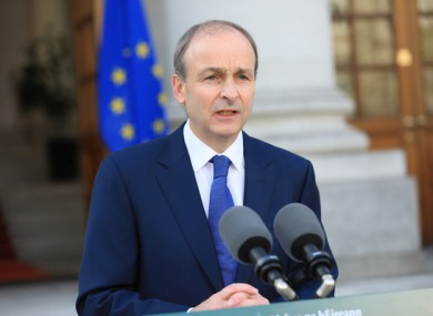 Taoiseach Micheál Martin at Government Buildings.