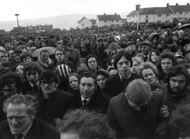 A silent crowd lined the procession route for the funeral of Bloody Sunday victims in 1972