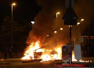 A car burns in the Waterside area of Derry last night