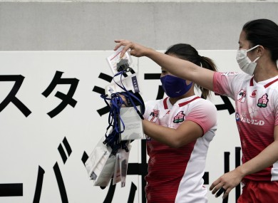 Japan rugby players after staging an operational test event at Tokyo Stadium.