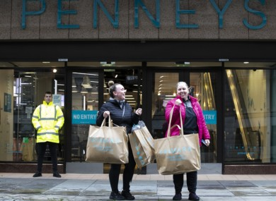 Michelle and Lauren O'Neill from Dublin with their Pennys Bags outside Pennys, O'Connell Street, Dublin in June, 2020