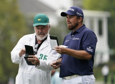 Shane Lowry with caddie Brian 'Bo' Martin on the first fairway during the second round of The Masters.