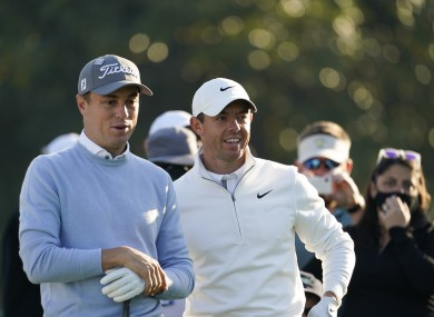 Justin Thomas and Rory McIlroy during a practice round for The Masters.