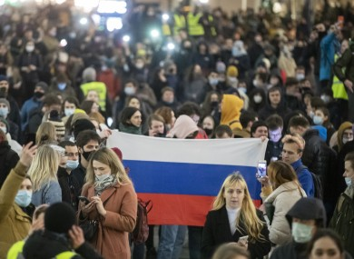Protesters gather in Moscow last night