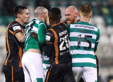 Tempers flare between Shamrock Rovers and Dundalk during the President's Cup meeting last month.