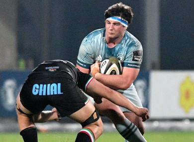 Thomas Clarkson in possession for Leinster during last month's Pro14 clash with Zebre.