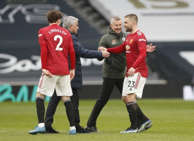 Tottenham Hotspur manager Jose Mourinho (2nd left) and Manchester United manager Ole Gunnar Solskjaer (2nd right) with Manchester United's Victor Lindelof (left) and Luke Shaw.