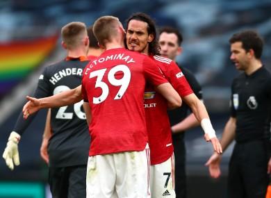 Manchester United's Scott McTominay and Edinson Cavani celebrate victory.