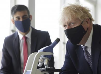 Boris Johnson with Chancellor Rishi Sunak at a school in London today.