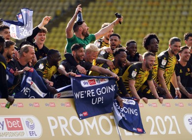 Watford celebrate promotion to the Premier League.
