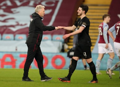 David Moyes with Declan Rice (file pic).