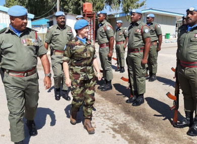 Major General O'Brien as a Brigadier General inspecting troops during her time as Deputy Force Commander of the United Nations Disengagement Observer Force (UNDOF).