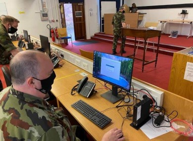 Irish Defence Forces IT experts on duty in the Curragh.