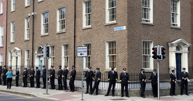 Dozens of airline pilots have lined up outside Leinster House to warn of thousands of job losses in their sector