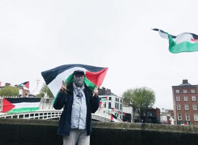 Palestinian protestors against the Israeli attacks on Gaza, at the Ha'penny Bridge in Dublin today