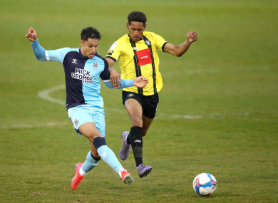 William Hondermarck (right) playing for Harrogate Town against Cambridge United in a League Two game last January.