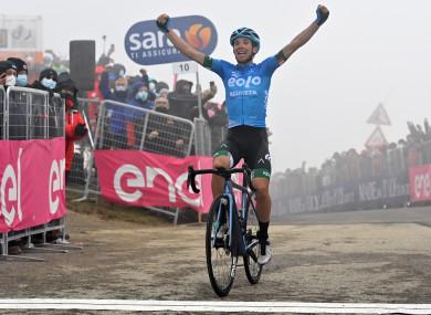 Fortunato celebrates his win.