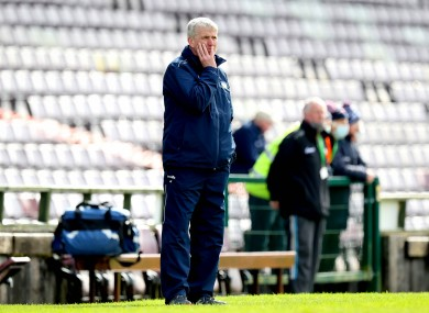 A pensive John Kiely during his side's loss to Galway.