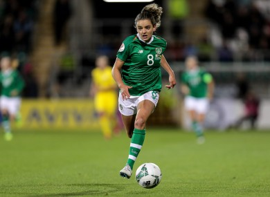 Leanne Kiernan on the ball for Ireland.