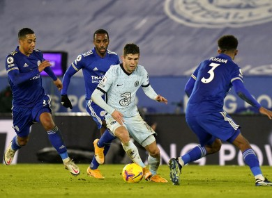 Chelsea's Christian Pulisic running at the Leicester players.